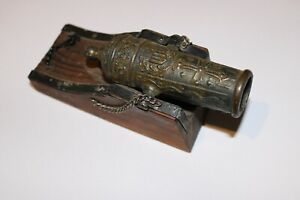 """Vintage Wood and Metal Military Cannon 6"""""""