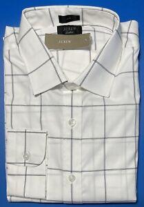 16 x 35 J CREW Ludlow Slim Fit Stretch Dress Shirt In Dark Navy / Black J4893