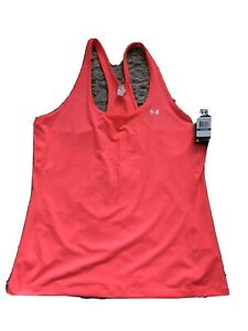 Ladies XL Under Armour UA HeatGear Mesh Back k Neon Coral  Sports Running Vest