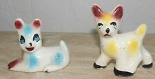 Vintage Chalk Ware Puppies (2) Mcm Carnival Dog Figurines Mid 1900's Collectible