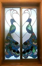 PEACOCK STAINED GLASS PATTERN - WINDOW PATTERN PEACOCKS and HEART COPPER FOIL