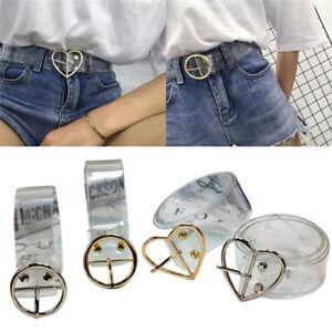 Transparent Women Lady Vintage Metal Leather Round Buckle Waist Belt Waistb-.BI