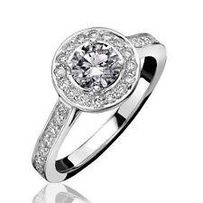 18Carat White Gold & Round Diamond Halo Cluster Ring 0.30 carats GH SI Hallmark