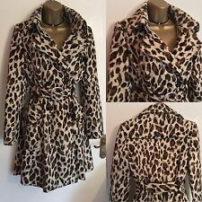 KAREN MILLEN Leopard Pony Faux Fur Trench Coat  RRP£350 UK 8 Ladies GIFT PRESENT