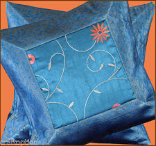 Set of two turquoise silk embroidered hand made brocade pillow cover India!