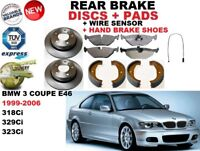 Para BMW 3 E46 Coupe 318 320 323 Juego de Discos Freno Trasero + Pastillas Kit