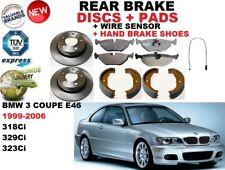 für BMW 3 E46 Coupé 318 320 323 Bremsscheiben SET HINTEN+BELÄGE +Sensor +Schuhe