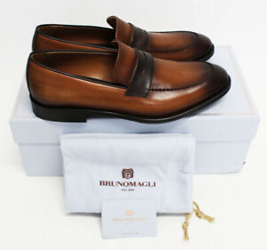 $750 NIB Italy BRUNO MAGLI Men's Burnished Leather Brown Dress Shoes Loafers