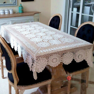 Lace Hand Crocheted Cotton Tablecloth Floral Table Cloth Cover Rectangle Vintage