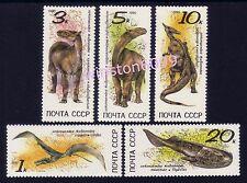 1990 Russia CCCP Ancient Animals Fish Bird Dinosaur 5v Stamps Mint NH