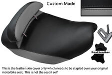 GREY & BLACK CUSTOM FITS PIAGGIO HEXAGON 125 DUAL LEATHER SEAT COVER