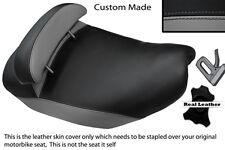 GREY & BLACK CUSTOM FITS PIAGGIO HEXAGON 125 DUAL LEATHER SEAT COVER