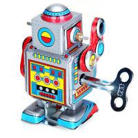Vintage Wind Up Walking Robot Clockwork w/ Key for Kids Toy Christmas Gifts