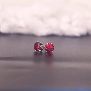 2.60 Ct Round Ruby 14k White Gold Plated 6 Prong Stud Earrings 7mm Women's #29