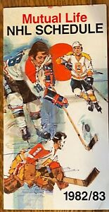 MUTUAL LIFE NHL SCHEDULE 1982-83 really thick card stock and MINT HAVE OTHERS