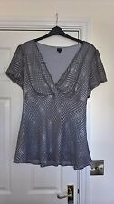 BNWOT DEBENHAMS COLLECTION SILVER GREY V-NECK PARTY TOP BLOUSE SIZE 20