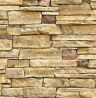 Wallpaper Faux Smooth Stacked Rock Stone Beige Cream Gray Yellow Brown