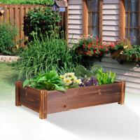 Large Rectangular Wooden Planters Garden Outdoor Flower Plant Herbs Pot Boxes