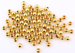 4mm Gold Plated Smooth Round Beads (100)