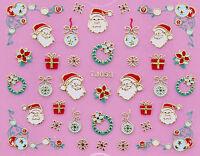 Christmas GOLD Snowflake Santa Gift Xmas Bauble Wreath 3D Nail Art Sticker Decal