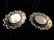Sterling Post Earrings w Mother of Pearl Oval Centered (200)