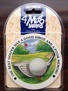 4 Golf Funny Mug Mates Big Coasters By Pimpernel NIP