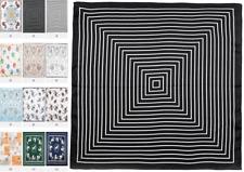 """20"""" Small Square 100% Silk Scarf Women neckerchief Wrap black white S314-002"""
