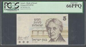 Israel 5 Lirot 1973 P38 Uncirculated Graded 66