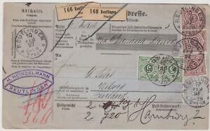Germany Württemberg to Finland old parcel card 1897 Reutlingen RARE