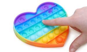Rainbow push pop-it fidget toy -- Heart