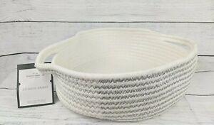 "Threshold Round White & Silver Rope Basket 10.5"" x 10.5"" x 3.75"" NEW"