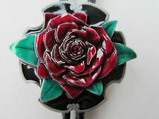 Cravatta Di Cuoio Lovely Rose Design Rock and Roll Country E Western.