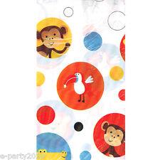 JUNGLE ANIMALS Safari Party PLASTIC TABLE COVER ~ 1st Birthday Supplies Dots Boy