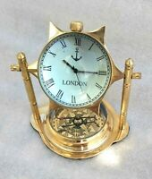 Brass Desk Clock Base Compass Star Cut Dial Vintage Style Desktop Decorative