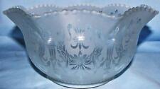 """Antique 4"""" Fitter Gas Lamp Shade Satin Glass Torch & Wreath Fleur de Lis Motif"""