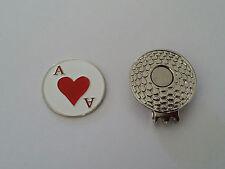 1 SET OF HEART A GOLF BALL MARKER & GOLF MAGNETIC HAT CLIP