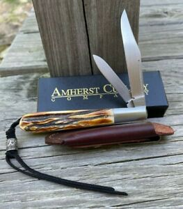 Amherst USA Stag Slim Line Trapper knife Unused in factory box LOOK!!