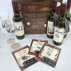 """PERSONALISED Birthday """"Á-D"""" Name WINE CHAMPAGNE LABEL and Tag Gift 3pcs/6pcs"""