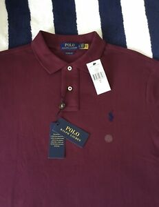 BNWT Mens Ralph Lauren Classic Fit Burgundy Red Polo Shirt In Large