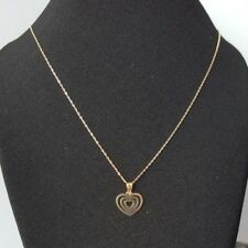 9ct Yellow Gold Flat Heart Pendant & Chain Necklace 0.47g NEW Wife Mum Xmas Gift