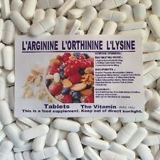 """L-Arginine, L-Ornithine, L-Lysine 1000 Tablets        """"BUY IN BULK""""          (L)"""