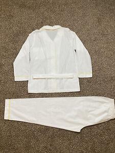 LORETTA  CAPONI 3 PIECE COTTON WHITE W/ YELLOW CONSTRAST PIPING SZ 14