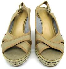 Womens Tommy Hilfiger Gold Metallic Espadrille Slingback Wedge Shoes Size 7.5 M