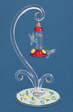 Glass Baron ~ Hummingbirds w/ Red Feeder ~ 14 kt gold accents ** New Design **