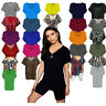 New Ladies Batwing Sleeve Baggy Oversize's Loose Fit Turn up V Neck T-Shirt Tops