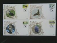 PAPUA NEW GUINEA 2008 BIRDS 4v ON 4 x BENHAM SILK FIRST DAY COVERS SG1221/24