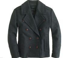 NWT J.CREW Women Wool melton peacoat  wind resistant Jacket Coat Gray Reg. 4