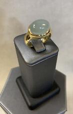 18K YELLOW GOLD LARGE DOME BERYL QUARTZ CABOCHON RING SIZE 7.5