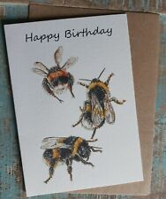 Greetings card Happy Birthday Bees Wildlife water colour  British made Blank