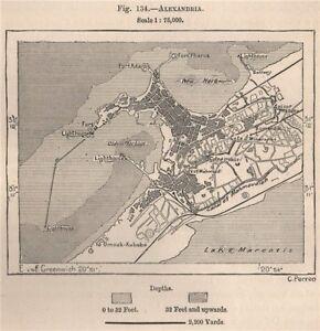 Alexandria. Egypt 1885 old antique vintage map plan chart